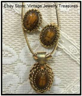 Amber Swirl Glass Scarab Gold Tone Pendant Necklace & Clip Earring Set
