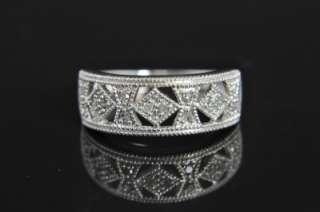 Estate Vtg 14K White Gold Diamond Art Deco Band Ring