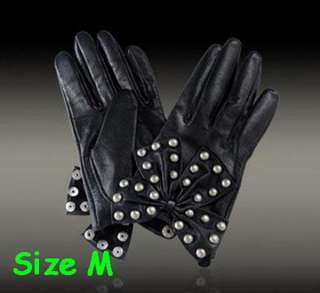 Butterfly and Rivets Lamb Leather Gloves Lady Gaga M