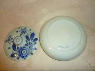 Blue DELFT Covered Dish Bowl Flowers 7 Holland