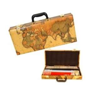 Mah Jongg Set in Old World Map Case Toys & Games
