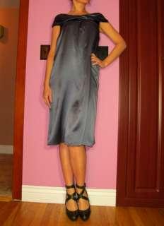 Marina Rinaldi Max Mara Gray Stretch Silk Charmeuse Dress MR17,19/US 8