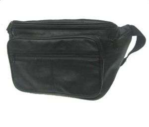 Extra Large Full Leather Fanny Pack Belt Bag   XL Black
