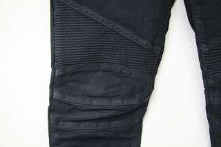AW10 Balmain Waxed Black Leather Effect Skinny Biker Jeans Sz 28