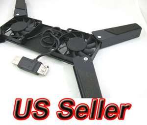 USB Folding 2 Fan Laptop PC Cooling Cooler Pad Bk