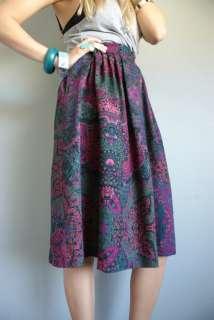 80s Dark FLORAL PLEAT High Waist Boho hippie Midi Dress Pocket SKIRT S