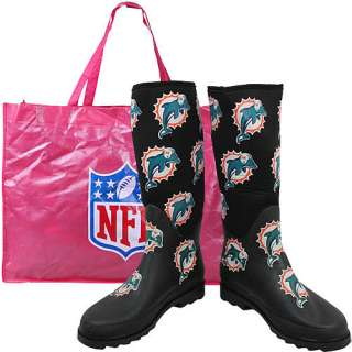 Cuce Shoes Miami Dolphins Womens Enthusiast Rain Boot