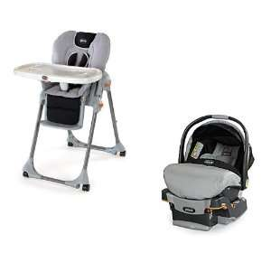 Chicco High Chair & Key Fit Car Seat in Romantic Baby