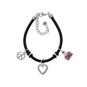 Red School House Black Peace Love Charm Bracelet Arts