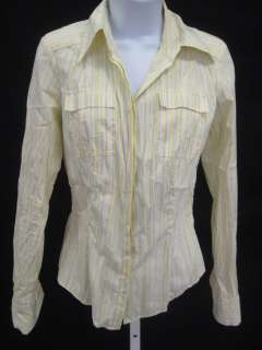 ELIE TAHARI Yellow Striped Button Down Shirt Top Size S