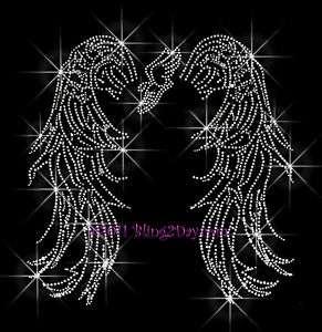 TRACK ANGEL WINGS RHINESTONE IRON ON TRANSFER SPORT MOM
