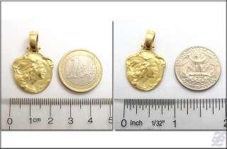 v3938   18K SOLID GOLD ART NOUVEAU STYLE CHARM MEDAL