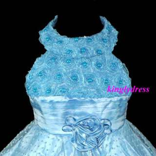 NEW Flower Girl Pageant Wedding Party Dress Blue Set SZ 4 5, 5 6, 7