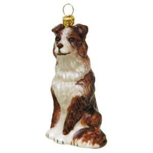 Red Border Collie Blown Glass Christmas Ornament