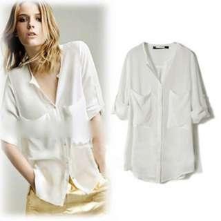 Fashion Women Simple Basic Sheer Chiffon T Shirt Blouse With Pockets