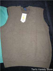 mens v neck sleeveless sweater polo golf & izod size large new with