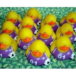 12 Soccer Rubber Ducks Purple Shirts