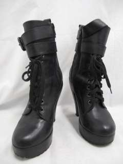 Jeffrey Campbell Limited Edition Black Lace Up Platform Mid Calf Boots