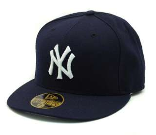 NEW ERA HAT 100% WOOL 2007 ON FIELD PLAYER YANKEES GAME NAVY BLUE CAP