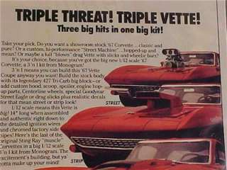 CHEVY 1967 CORVETTE CAR PLASTIC TOY MODEL KIT PRINT AD~ ORIGINAL