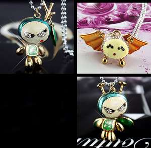 g2b fashion jewellery sparkly crystal robot necklace pendant