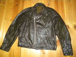 1970s Mens Unknown Leather Motorcycle Jacket Sz 44