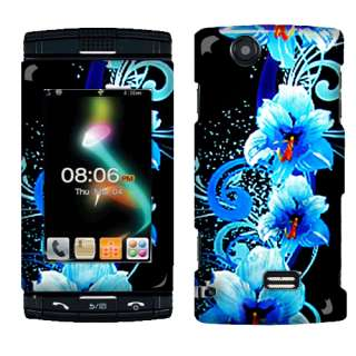 AT&T Sharp STX 2 FX Phone Blue Flowers 2D Silver Accessory Case Cover