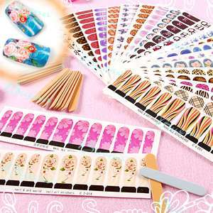 Styles Professional Nail Art Decals Water Stickers Full Cover Tips