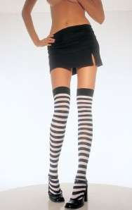 STRIPED OPAQUE Thigh High Stockings BLACK & ROYAL BLUE