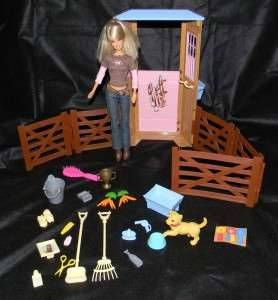 2007 Barbie Dream Stable Playset Mattel Doll Rake Broom Pail Carrots