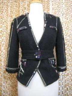 LAROK La Rok Womens Black Jeweled Belted Wool Blend Blazer Jacket sz