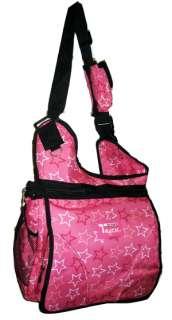 Large Messenger Sling Body Bag Backpack Pink Stars