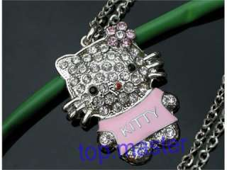 Beautiful hello kitty cat crystal necklace Pendants H55