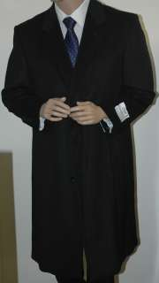 Mens Wool & Cashmere Blend Full Length Black Overcoat Jacket Style