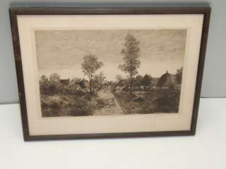 Antique 1888 Signed Leigh Hunt Etching Old Art Country