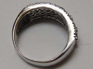 Estate Antique DLC Ring 14K White Gold With 42 Diamonds 17 Sapphires 7