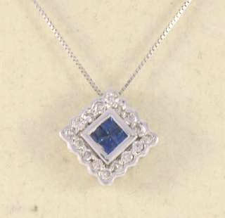 NEW 14k White Gold Set Sapphire & Diamond Pendant w/ Ch