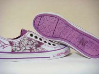 Ed Hardy women roses white rhinestones sneakers shimmer shoes