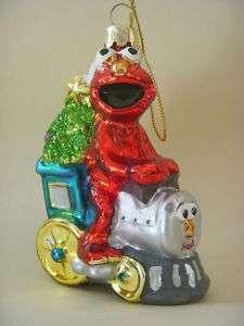 Sesame Street Elmo on a Train Glass Ornament NEW