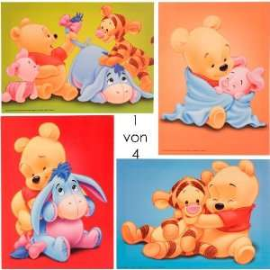 Wandbild auf Leinwand von Baby WINNIE POOH, Tigger, Iaah und Ferkel