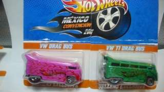 2011 Hot Wheels Mexico Convention VW Drag Bus & T1 Drag Bus Set W
