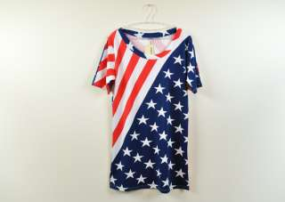 national flag T shirt women Long Top STRIPE STARS loose