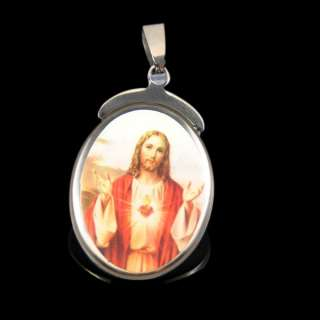 Jesus Christ Portrait Oval Stainless Steel Pendant Necklace ST63