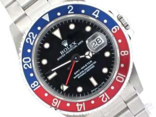 ROLEX MENS 16700 SS STEEL GMT MASTER WATCH PEPSI MINT BOX & PAPERS