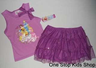 PRINCESS Girls 4 5 6 6X Set OUTFIT Shirt Skirt Tutu RAPUNZEL Tiana