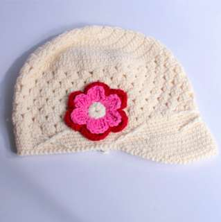 Toddler Baby Girls Cute Flower Motif Crochet Woolly Hand Knitted Cap