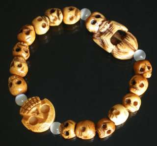 Cool Tibet & Nepal Ox Bone Carved Skulls Beads Bracelet