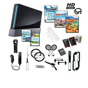Nintendo Wii Black Console and Wii Sports and Wii Sports Resort and