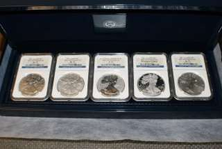 PF70 2011 AMERICAN EAGLE 25TH ANNIVERSARY SILVER COIN SET BOX AND COA