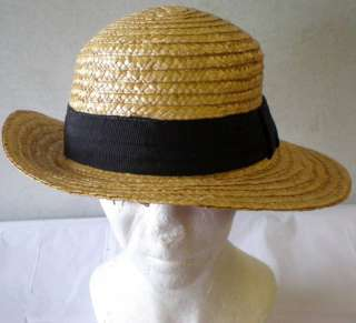 Ladies Straw hat black ribbon Safari costume accessory